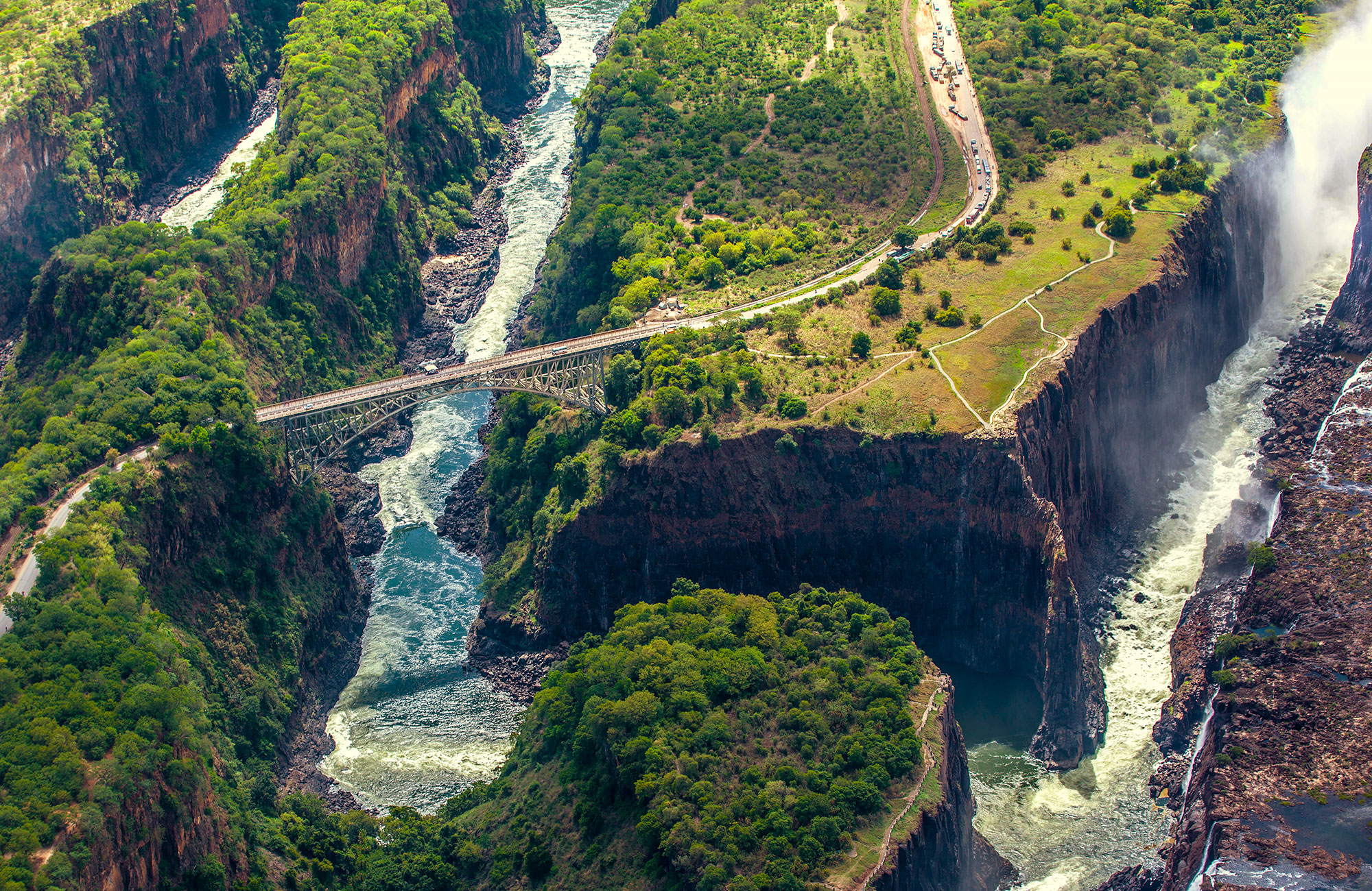 Bungee jump fra broen ved Victoria Falls