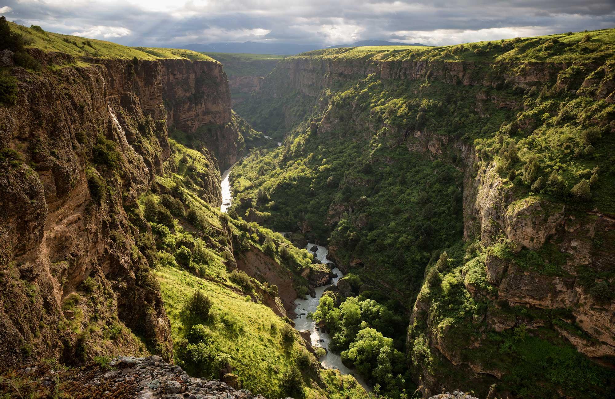 Vy över ett grönskande Aksu River i Kazakhstan.