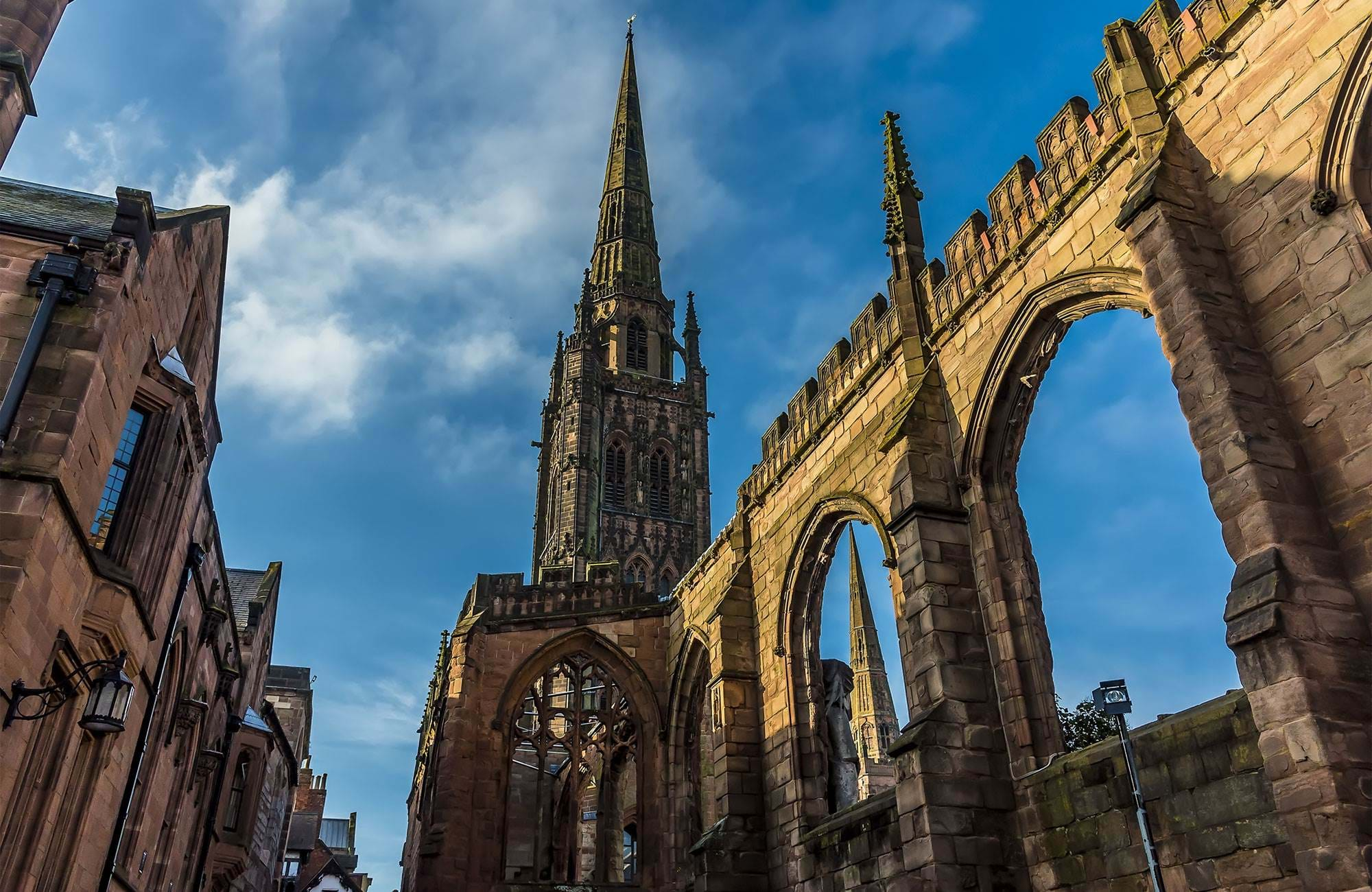 spires-arches-of-the-ruins-of-St-Michael's-Cathedral-Coventry