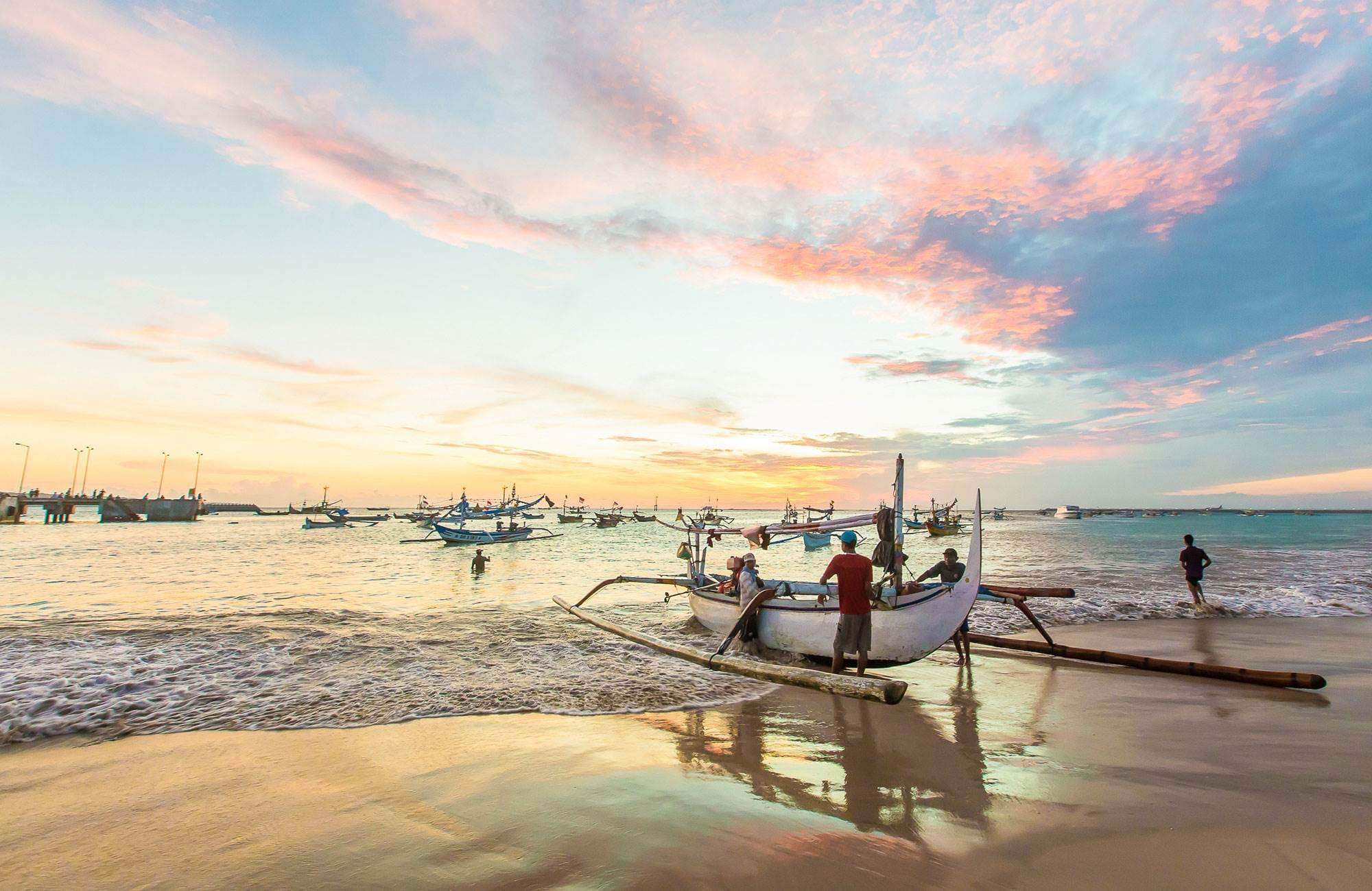 Indonesia Bali Jimbaran Beach Sunset Local Boats