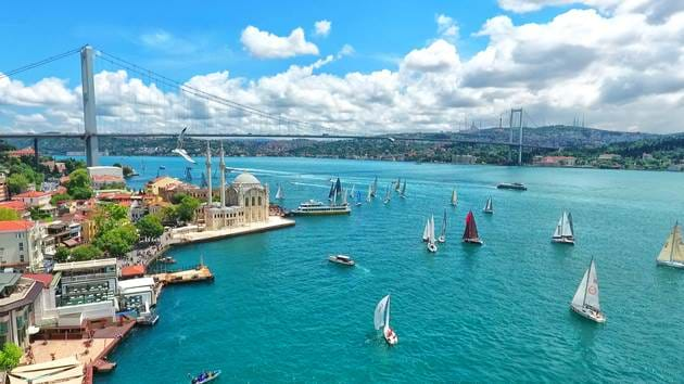 Turkey Istanbul Harbour Bosphorus Bridge